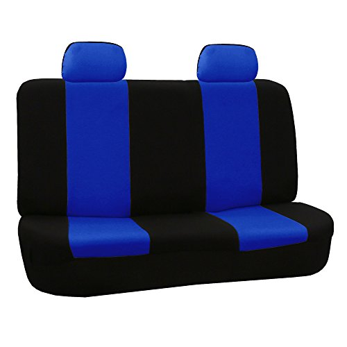 FH GROUP FH-FB050012 Flat Cloth Bench Seat Covers Blue / Black Color- Fit Most Car, Truck, Suv, or Van by FH Group