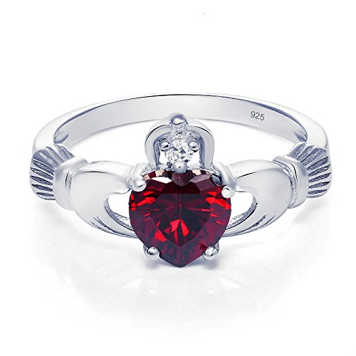 Sterling Silver Claddagh Promise Ring For Her with Simulated Garnet And Cubic Zirconia, 8mm (8) ()