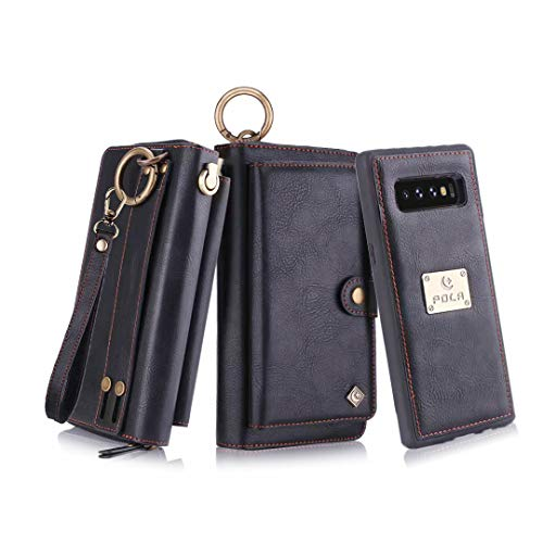 (Petocase Compatible Galaxy S10 Plus Wallet Case, Multi-Functional PU Leather Zip Wristlets Clutch Detachable Magnetic 13 Card Slots 4 Cash Purse Protection Back Cover for Samsung Galaxy S10 Plus)
