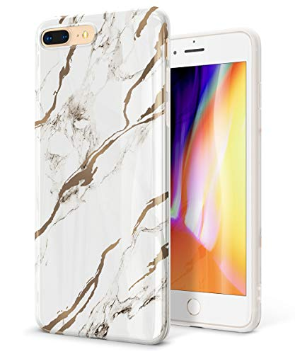 Glossy Case Cover - GVIEWIN Marble iPhone 8 Plus Case/iPhone 7 Plus Case, Ultra Slim Thin Glossy Soft TPU Rubber Gel Silicone Phone Case Cover Compatible iPhone 7 Plus/8 Plus(5.5 inch) (White/Gold)
