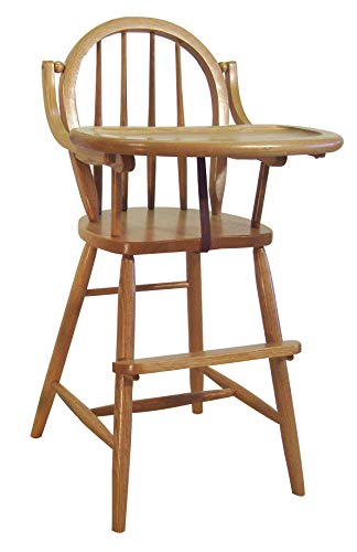 Bow High Chair - Bow Amish Lift Tray High Chair Oak Hardwood (Onyx Stain)