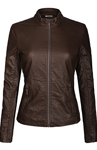 BodiLove Women's Slim Tailoring Faux Leather Zipper Moto Biker PU Bomber Jacket Coffee S