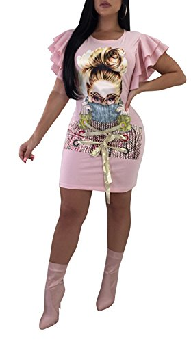 Speedle Women Casual Short Puff Sleeve Digital Graphic Print Loose Tunic T-Shirt Mini Dress Pink S - Puff Fringe