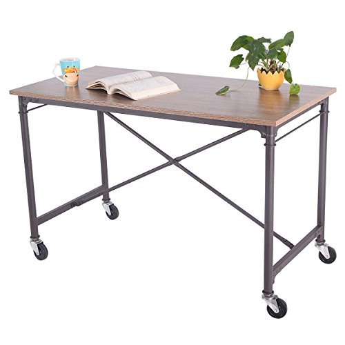 (New Computer Desk Laptop Writing Table Melamine Surface Wheels Home Office)