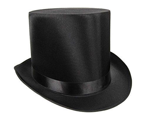 Nicky Bigs Novelties Tall Black Satin Top Hat,One - Steampunk 1920s