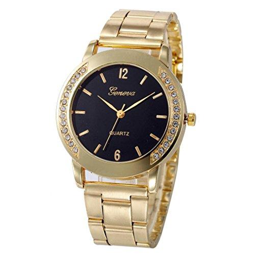 XILALU Women watch, Stainless Steel Sport Quartz Hour Wrist Analog Watch (Black 2)