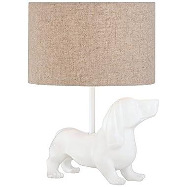 Helga Dachshund Dog White Ceramic Table Lamp