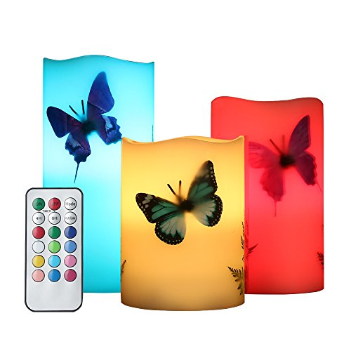 Candle Butterfly (YAMUDA 3 PCS LED Candles Simulation of Paraffin 18-Key Remote Colorful Light Mode Flameless Paraffin Wax Candle Lights for Romance Decor (Butterfly))