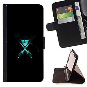 - Anonymous Rebel Neon Blue - - Prima caja de la PU billetera de cuero con ranuras para tarjetas, efectivo desmontable correa para l Funny HouseFOR LG G2 D800