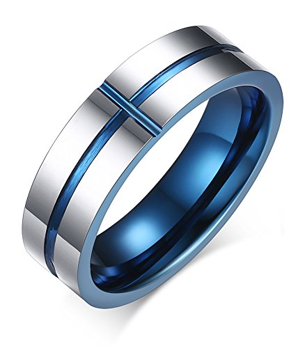 Men's 6mm High Polished Tungsten Carbide Classic Wedding Ring Engagement Band Grooved Blue Cross (Black Magic Titanium Tire)