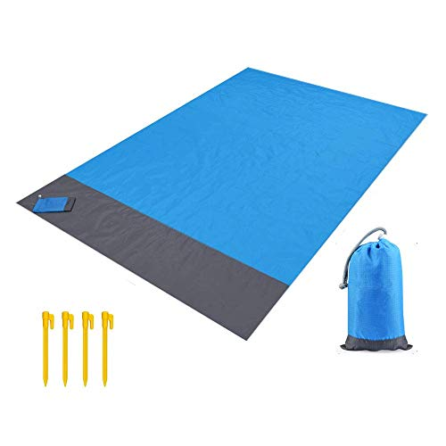 KABB Outdoor Beach Blanket, Compact Pocket Blanket, Waterproof Ground Cover, Sand Proof Picnic Mat for Travel, Hiking, Camping, Festival, Sports - Durable Tarp, Loops, Bag (BLUE-57x79 in) (Sport Bag Color Tri)