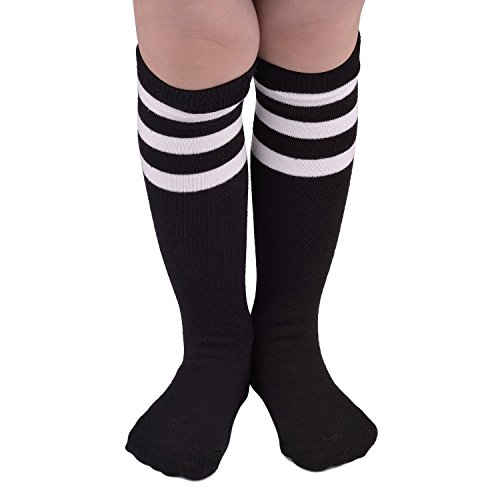 Baby Football Uniform Costume (Toddler Soccer Socks Baby Casual Cotton High Knee Kawaii Tube Uniform Athletic Triple Stripes Stockings For Kids Kawaii Black)