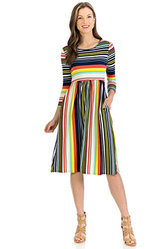 iconic luxe Women's Fit and Flare Midi Dress with Pockets X-Large Navy Yellow Striped ()
