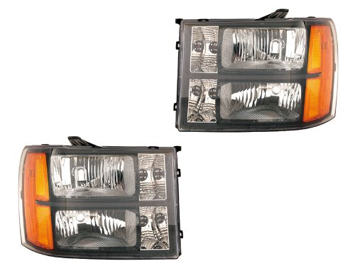 Depo Gmc Sierra 07-09 Euro Black Bezel Head Light Set Depo Black Euro Headlights