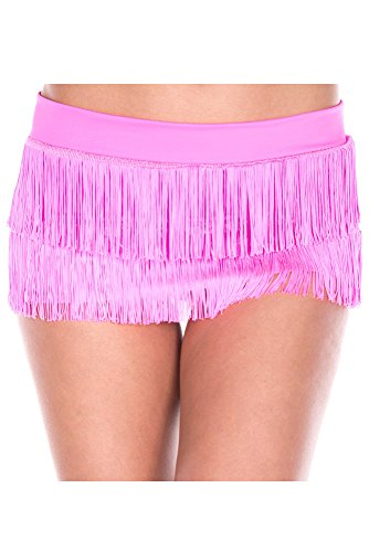(Music Legs Women's Fringed Mini Skirt with Lame Waistband, Hot Pink, One Size)