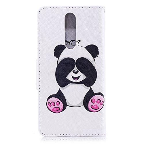 Cas Carte Fermeture Protection Support Hozor Flip Avec Fente D'impression Pour Peint Étui Conception Cuir De Panda Magnétique Aérosol Pu 8 Shy En Nokia Portefeuille rT1RE