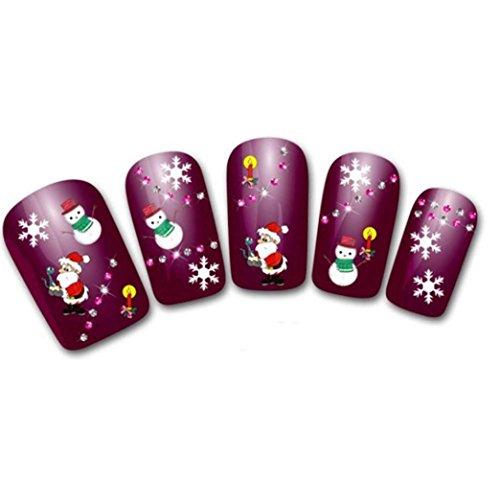 Nail Art Stickers,Putars Fashion Women's DIY Christmas Nail Sticker Water Transfer Stickers Finger Nail Art -