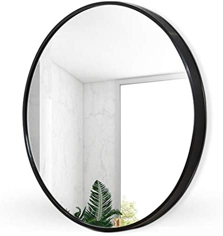 浴室、玄関、ダイニングルーム、リビングルームの装飾鏡用の大きな丸い鏡壁金属黒化粧鏡、ドレッシングミラーサークルウォールミラー Tilting Mirror