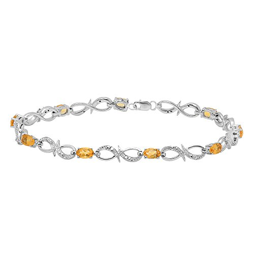 Dazzlingrock Collection Real Oval Cut Genuine Citrine & Round Diamond Ladies Link Bracelet, Sterling ()