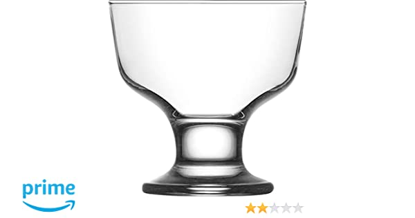 For Ices Set Of 6 Thick Glass Serving Dishes 5.5 Ounce Dessert Cups and More Fruit Pudding Vikko Clear Glass Footed Ice Cream Dessert Bowls