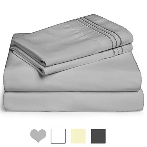 Edilly Hotel Luxury Queen Bed Sheet Set 4 Piece – Ultra Soft Microfiber 1800 Series Bedding Deep Pocket Hypoallergenic Wrinkle & Fade Resistant (Grey, Queen)