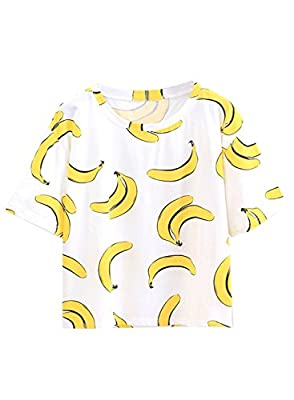 Futurino Women Short Sleeve Fruit Banana Print funny monkey T-Shirt Top