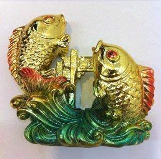 K-Y Feng Shui Shui Shui Golden Double Karpfen Fisch Crossing Dragon Gate Statue 744944
