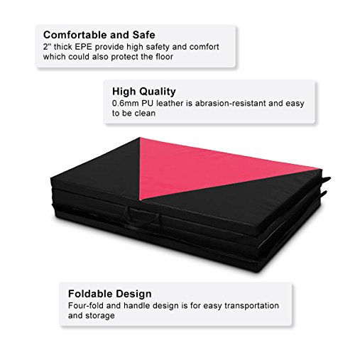 COSTWAY 4'X10'X2 Gymnastics Mat Folding Panel Thick Gym Fitness Exercise Pink/Black New by COSTWAY (Image #4)
