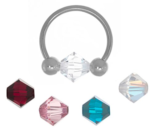 BodySparkle Body Jewelry Set of Interchangeable Beads and Circular Captive Bead Ring-18g-3/8 inch -10mm-Ear Piercing Hoop Body Jewelry ()