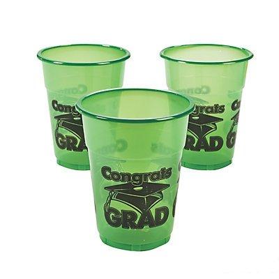 """Green """"Congrats Grad"""" Disposable Cups"""