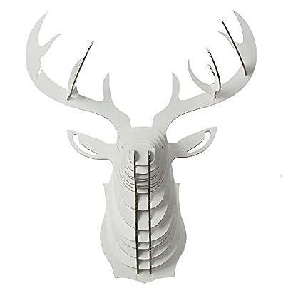 Paper Maker Cardboard 3D Deer Head Wall Decoration Art Animal Hanging Decor Small