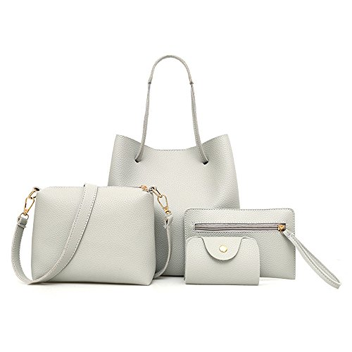- Sunyastor Handbags for Women 4Pcs Pattern Leather Handbag+Crossbody Bag+Messenger Bag+Card Package Tote Satchel Hobo Purse Set (Gray, one Size)