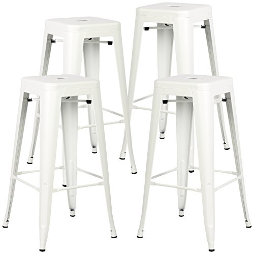Poly and Bark Trattoria Bar Stool in White (Set of