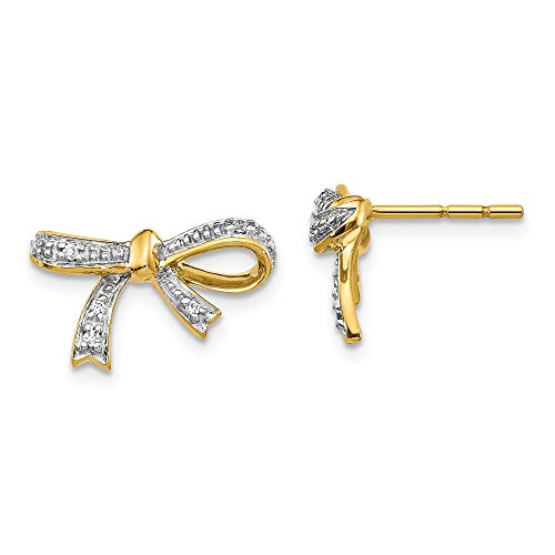 FB Jewels 14K Yellow Gold Diamond Bow Post Earrings