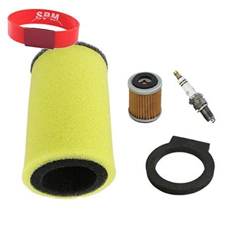 SPM Dual Stage Air Filter with Spark Plug Oil Filter for Yamaha Timberwolf 250 Big Bear 350 Moto-4 350 250 Kodiak 400 YFB250U YFB250FW YFM350FW YFM350U YFM350ER YFM250 YFM400FW
