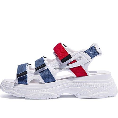 sandalias plataforma de de Nueva Verano SOHOEOS Velcro plataforma Mujer Casual Blue señoras Señoras moda Sport plana para 45SPnxqw
