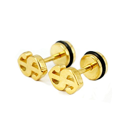 Bonnie US Dollar Sign 316L Stainless Steel Screwback Stud Barbell Earrings (Gold)
