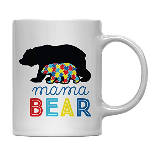 Andaz Press 11oz. Autism Awareness Coffee Mug Gift, Mama Bear, 1-Pack, Autistic Child Parent Christmas Support Cup with Gift ()