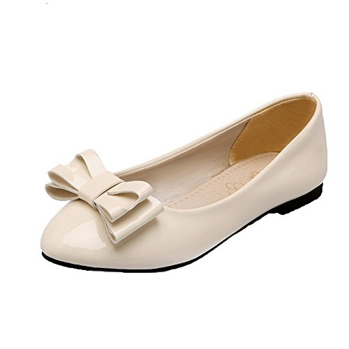 Beige Low Pull On Toe Shoes Material Soft Women's 35 Pumps Round Solid Heels WeiPoot 1xY76qpw1
