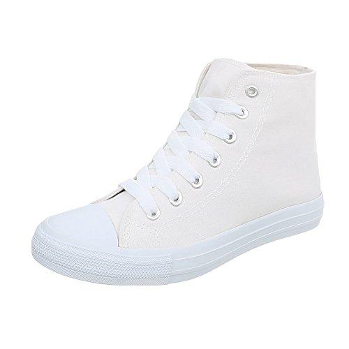 Chaussures De Sport-design Italien Haut Femmes Lacets Sport Blanc G-68-3
