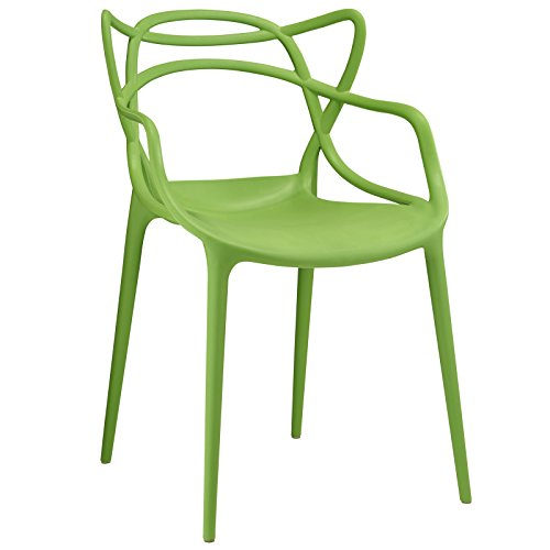 Modway Entangled Modern Molded Plastic Kitchen and Dining Room Arm Chair in Gren - Fully Assembled - Funky Modern Chair