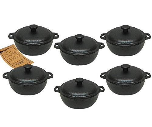 - 2 Cup Mini Dutch Oven,cast Iron,old Mountain, Pre-seasoned W/dome Lid Set of 6