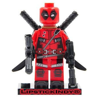 LipstickIndy 2016 DEADPOOL CUSTOM MINI FIGURES X-MEN NEW RED SUITE WITH WEAPONS