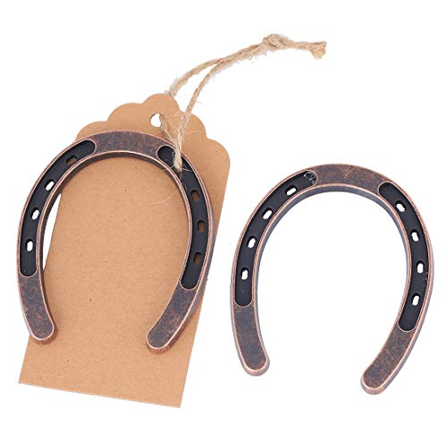 Youkwer 12 pcs Lucky Horseshoes Wedding Favors Decorations with Kraft Tags Rustic Horseshoe Gifts for Vintage Wedding Party Decorations Thank You Tag for Party Gifts (12) -