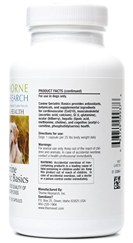 Thorne Research Veterinary - Canine Geriatric Basics - Promotes a Good Quality of Life in Older Dogs - 120 Capsules