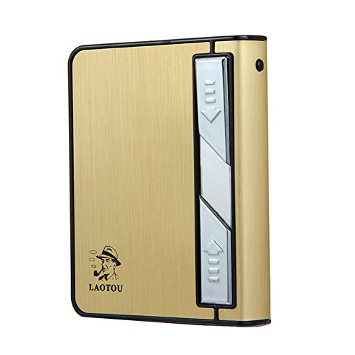 Moonwbak Cigarette Case Lighter, Multifunction Cigarette Box Holder USB Electric Rechargeable Cigar Lighter,Push Out Cigarette Holder with Electric Torch (Gold-Black)