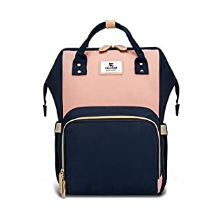 Hafmall Diaper Bag Backpack - Waterproof Travel Nappy Bag Multifunction Baby Bag (Pink&Navy Blue)