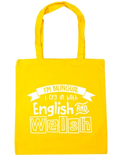 HippoWarehouse I 'm bilingüe I Cry en inglés y galés bolsa de la compra bolsa de playa 42cm x38cm, 10litros, blanco (blanco) - 21414-TOTE-White amarillo