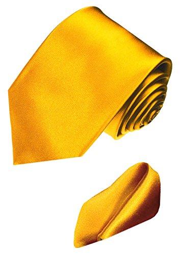 LORENZO CANA Luxury Italian 100% Silk Business Tie Hanky Set Yellow Gold 8441701