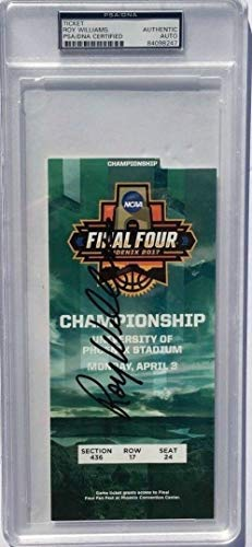 (Roy Williams Autographed Signed Memorabilia 2017 Championship Basketball Ticket North Carolina - PSA/DNA Authentic)